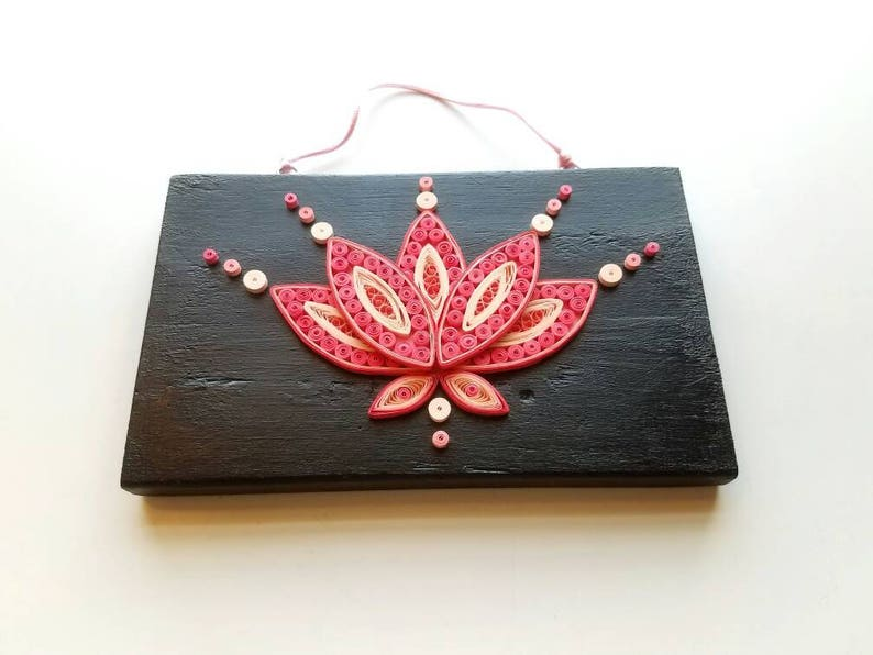 Handmade Paper Quilling Lotus Flower In Pink On Black Painted Etsy