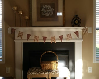 CLEARANCE Handmade 6' Paper Bunting/Banner Pennant and Flag Shape in Tan and Brown, Home Decor, Party Supply