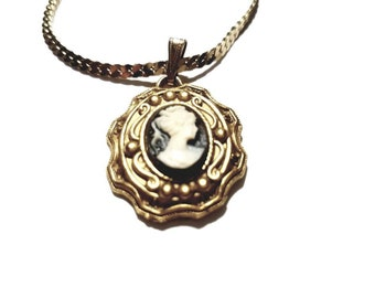 Vintage Gold Plated Necklace with Black and Ivory Cameo Pendant