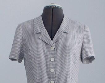 plaid shirt dress | light grey/blue plaid dress | vintage 80s plaid dress