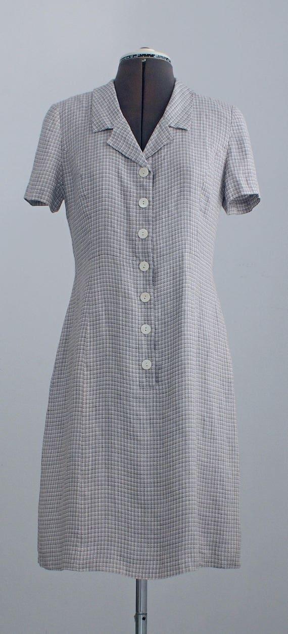 c836528b6c plaid shirt dress light grey blue plaid dress vintage 80s