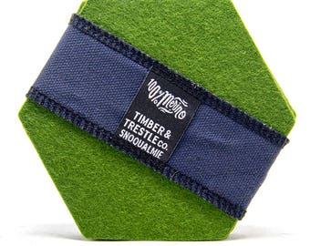 Hexagon Merino Wool Felt Coaster Set– Olive Green – 5MM Thick