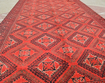 9'7 x 4'7 FT Semi Antique Chinar Gul Shreen Very Soft and fine Quality Turkoman Carpet DISCOUNTED PRICE