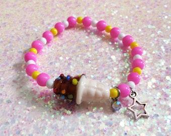 Kawaii ice cream stretch bracelet - chocolate ice cream cone pink bracelet - summer harajuku ice cream charm bracelet - magenta decora kei