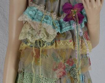 "Dress ""La Belle du jour"" ruffle tunic dress, soft, fluid and romantic, Boho dress"