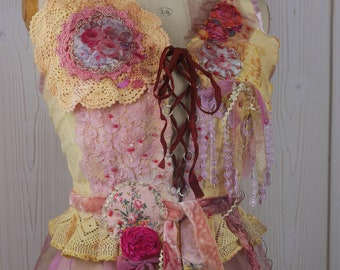 "Very Romantic Corset ""Angelina"", Art to wear, Unique, Beautiful and feminine"
