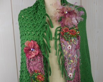 """Small spring wool shawl, shrug very soft """"spring bud"""", Art to wear, very feminine and romantic, Unique"""