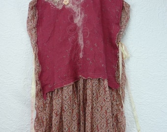 Silk dress, nuno, felted, dress, hand made, Unique, Boho, pink, Romantic, wearable art