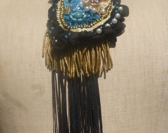 "Necklace ""The enchanting Comtesse"" lace, glass beads, sequins, crystals, embroidery, BoutonRose, old golden fringe, black, blue, woman"