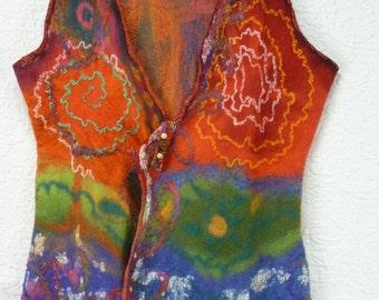 Nuno felted vest , multiple fibers , pure silk, cocoons silk, merino wool, colorful, red , orange, green , blue, pink, Unique, gilet feutré