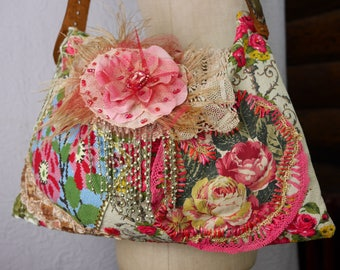 "Boho bag, antique, ""Romantic rose""  floral, gipsy, unique, art to wear, Romantic"