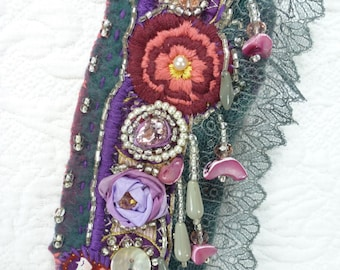 "Cuff Bracelet ""Russian Charm"" Merino felt, embroidery Russian doll and flowers, crystals, rhinestones, pearls, woman, boho"