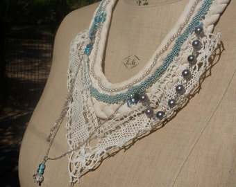 "Necklace ""The French princess' lace, beads, sequins, crystals, embroidery, BoutonRose, white, blue sky"