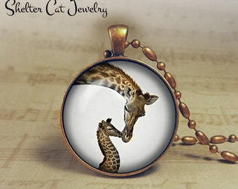 "Mom and Baby Giraffe Necklace - 1-1/4"" Circle Pendant or Key Ring - Handmade Wearable Photo Art Jewelry - Nature Art - Giraffe - Gift"