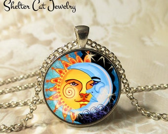 """Spiral Sun and the Moon Necklace - 1-1/4"""" Circle Pendant or Key Ring - Wearable Art Photo - Celestial, New Age, Nature, Magic Gift for Her"""