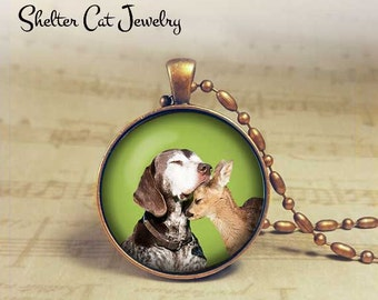 "Dog and Fawn Cuddle Necklace - 1-1/4"" Circle Pendant or Key Ring - Handmade Wearable Photo Art Jewelry - Nature, Love, Romance, Animal Gift"