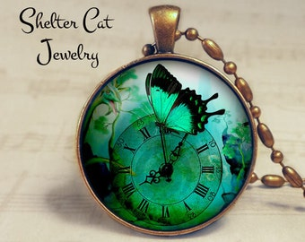 "Steampunk Green Butterfly Necklace - 1-1/4"" Circle Pendant or Key Ring - Handmade Wearable Photo Art Jewelry - Bug, Clock, Floral, Gift"