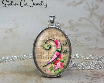 """Bass Clef Necklace - 1"""" x 1-1/4"""" Oval Pendant or Key Ring - Note and Sheet Music Jewelry - F Clef - Gift for Singer, Musician, Song Writer"""