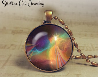 "Galaxy Pendant with Star - 1-1/4"" Round Necklace or Key Ring - Handmade Wearable Photo Art Jewelry - Nebula picture - Outer Space Jewelry"