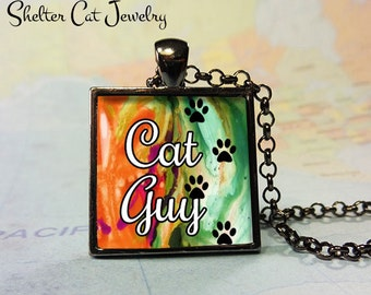 "Cat Guy Pendant - 1"" Square Necklace or Key Ring - Handmade Wearable Photo Art Jewelry"