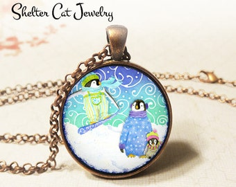 "Whimsical Skiing Penguins Necklace - 1-1/4"" Circle Pendant or Key Ring - Wearable Photo Art Jewelry - Wildlife, Winter, Christmas Gift"
