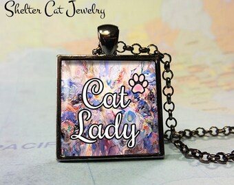 "Cat Lady Pendant - 1"" Square Necklace or Key Ring - Handmade Wearable Shelter Cats Photo Art Jewelry"