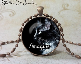 "Imagine Black Cat Pendant 1-1/4"" Round Pendant Necklace or Key Ring - Handmade Wearable Shelter Cats Photo Art Jewelry"