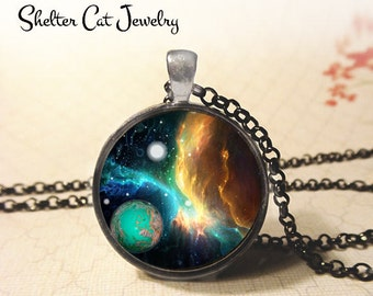"""Nebula with Blue Planet Pendant - 1-1/4"""" Round Necklace or Key Ring - Wearable Photo Art Jewelry - Universe, Galaxy, Space, Science Gift"""