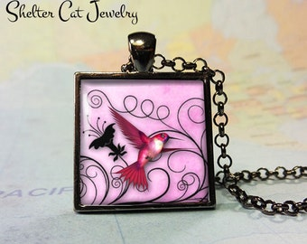 "Pink Hummingbird Necklace - 1"" Square Pendant or Key Ring - Handmade Wearable Photo Art Jewelry - Gift for Her or Him"
