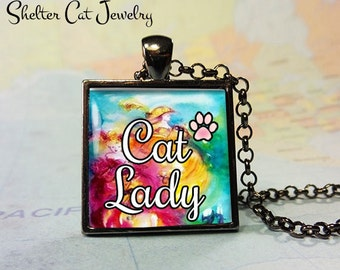"""Cat Lady Pendant w/ Paw Print - 1"""" Square Necklace or Key Ring - Handmade Wearable Shelter Cats Photo Art Jewelry - Gift for her"""
