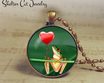 "Frog With Heart Valentine Necklace - 1-1/4"" Circle Pendant or Key Ring - Frog Valentine's Day - Holiday Present or Gift for Frog Lover"