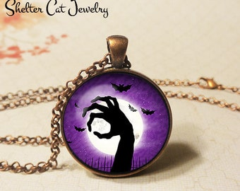 "Zombie Hand Necklace - 1-1/4"" Circle Pendant or Key Ring - Wearable Art Photo - Halloween Ghoul Trick Or Treat Scary Spooky Gift"