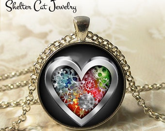 """Colorful Steampunk Heart Necklace - 1-1/4"""" Circle Pendant or Key Ring - Handmade Wearable Art Photo - Gears, Science Nature, Gift"""