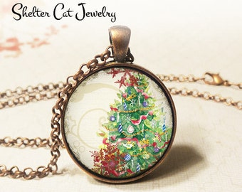 "Merry Christmas Tree Necklace - 1-1/4"" Circle Pendant or Key Ring - Wearable Photo Art Jewelry - Artwork, Winter, Holiday, Christmas Gift"
