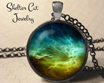 """Drustan Nebula Pendant - 1-1/4"""" Round Necklace or Key Ring - Wearable Photo Art Jewelry - Universe, Galaxy, Space, Science, Outer Space Gift"""