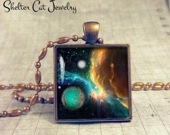 "Galaxy Nebula Necklace with Planets - 1"" Square Pendant or Key Ring - Handmade Wearable Photo Art Jewelry - Outer Space Jewelry - Gift"