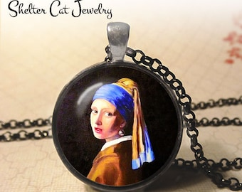 """Girl With A Pearl Earring Necklace - Johannes Vermeer - 1-1/4"""" Circle Pendant or Key Ring - Photo Art Jewelry - Famous Painting Art Gift"""