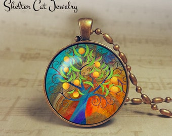 """Curly Tree of Life w/ Fruit Necklace - 1-1/4"""" Round Pendant or Key Ring - Handmade Wearable Photo Art Jewelry - Nature - Gift for Her"""