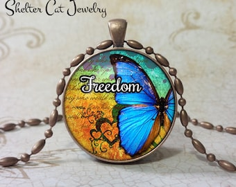 "Freedom Butterfly Pendant - 1-1/4"" Round Necklace or Key Ring - Handmade Wearable Photo Art Jewelry"