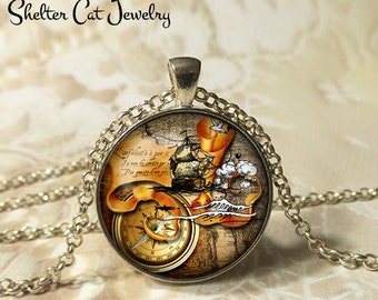 "Pirate Map Necklace - 1-1/4"" Circle Pendant or Key Ring - Wearable Art Photo - Pirate Ship, Map, Navigation, Steampunk, Compass Gift"