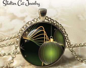"""Green Christmas Oranment Necklace - 1-1/4"""" Circle Pendant or Key Ring - Merry Christmas - Photo Art Jewelry - Christmas Present Holiday Gift"""