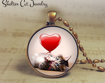 "Valentine Tabby Kitten Necklace - 1-1/4"" Circle Pendant or Key Ring - Cat Plays with Heart - Holiday Present or Gift for Cat Lover"