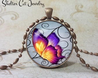 "Yellow Butterfly Necklace - 1-1/4"" Circle Pendant or Key Ring - Handmade Wearable Photo Art Jewelry - Nature art - Gift for her"