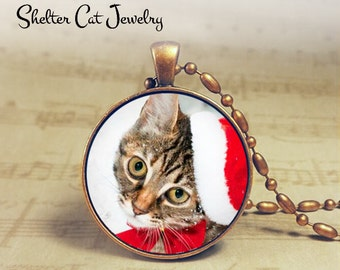 """Christmas Tabby Kitty in Santa Hat Necklace - 1-1/4"""" Circle Pendant or Key Ring - Holiday Cat - Christmas Present Holiday Gift Animal Lover"""