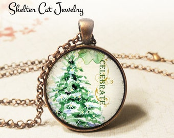 """Celebrate Christmas Tree Necklace - 1-1/4"""" Circle Pendant or Key Ring - Wearable Photo Art Jewelry - Winter Artwork, Holiday, Christmas Gift"""