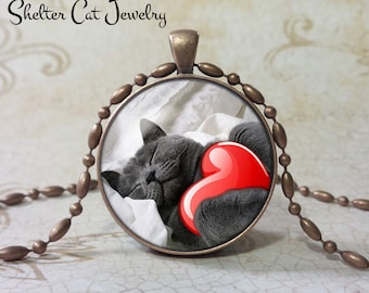 "Valentine Gray Cat Necklace - 1-1/4"" Circle Pendant or Key Ring - Kitty Hugs Heart - Holiday Present or Gift for Cat Lover"