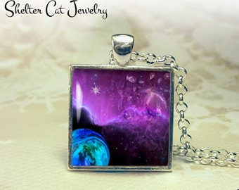 "Galaxy Nebula Necklace with Purple Haze - 1"" Square Pendant or Key Ring - Handmade Wearable Photo Art Jewelry - Outer Space Jewelry - Gift"