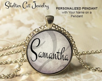 "PERSONALIZED PENDANT Necklace with your name - 1-1/4"" Circle Necklace or Key Ring - Wearable Photo Art Jewelry - Custom made Gift for Her"