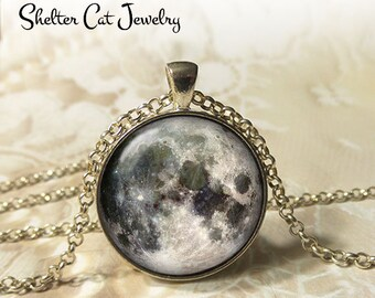 "Full Moon Necklace - 1-1/4"" Circle Pendant or Key Ring - Wearable Art Photo - Celestial, Galaxy, Solar System, Space, Universe, Gift"