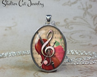 """Treble Clef Violin Necklace - 1""""x1-1/4"""" Oval Pendant or Key Ring - Music Note Jewelry - Gift for Volinist, Singer, Musician, Song Writer"""